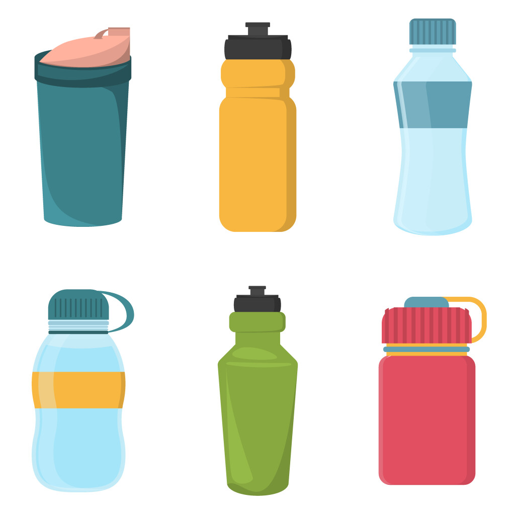 Set,Of,Blank,Bicycle,Plastic,Bottles,For,Water
